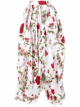 Alexander McQueen - юбка асимметричного кроя с цветочным принтом 335QMD65938553390000