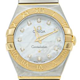 Omega White Mop Yellow Gold & Steel Constellation Diamond Women's Watch 24MM