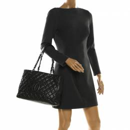 Chanel Metallic Grey Quilted Caviar Leather Grand Shopper Tote 209289