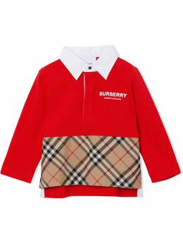 Burberry Kids рубашка-поло со вставкой в клетку 8012412