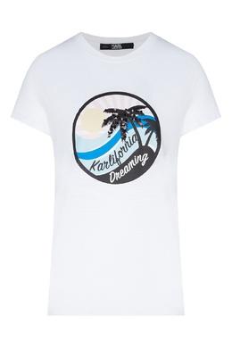 Белая футболка с круглым логотипом Karl Lagerfeld 682142070