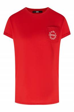 Красная футболка с небольшим логотипом Karl Lagerfeld 682142081