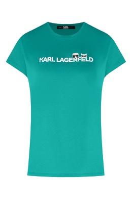 Бирюзовая футболка с надписью Karl Lagerfeld 682142084