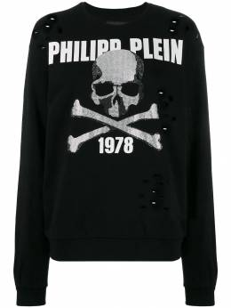 Philipp Plein - джемпер с декором Skull и стразами CWJO6593PTE663N95998