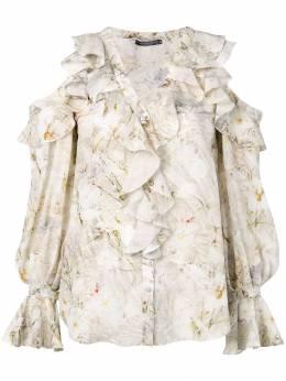 Alexander McQueen - юбка с цветочным принтом и оборкой 380QMD69938999600000