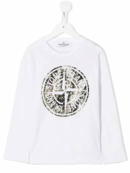 Stone Island Junior футболка с контрастным логотипом MO711621157