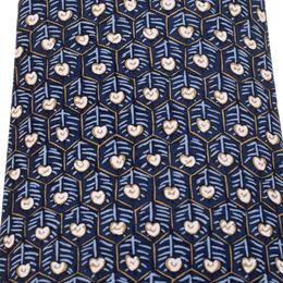 Hermes Vintage Navy Blue Honeycomb Pattern Silk Tie 208909