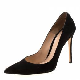 Gianvito Rossi Black Suede Pointed Toe Pumps 39 210838