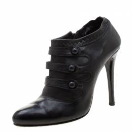 Le Silla Black Leather Booties Size 39 210761