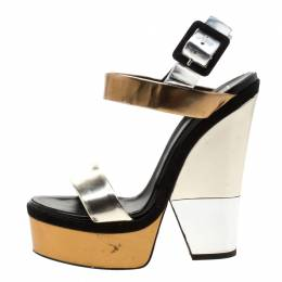 Giuseppe Zanotti Design Metallic Gold And Silver Leather Platform Wedge Strappy Sandals Size 40