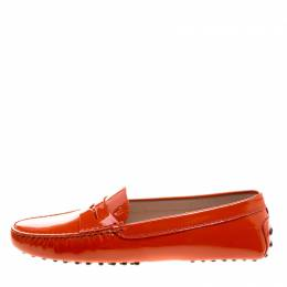 Tod's Orange Patent Leather Penny Loafers Size 39 Tod's