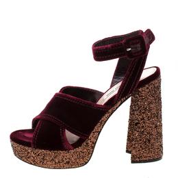 Miu Miu Burgundy Velvet Cross Strap Glitter Platform Ankle Strap Sandals Size 39.5