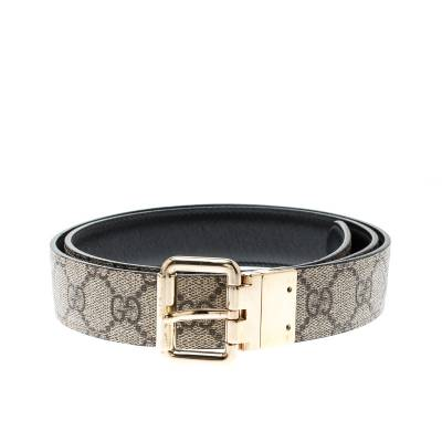 Gucci Beige/Black GG Canvas and Leather Reversible Belt 209492 - 1