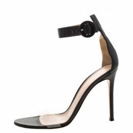 Gianvito Rossi Black Leather And PVC Ankle Strap Sandals 38.5 210759