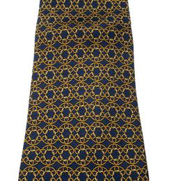 Hermes Vintage Navy Blue Loop Link Printed Silk Tie 208270