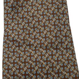 Hermes Grey and Brown Chain Link Pattern Printed Silk Tie 208221