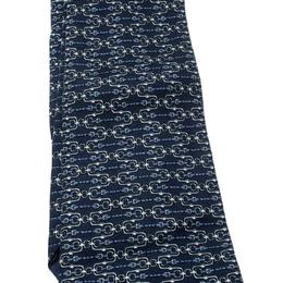Hermes Navy Blue Bridle Printed Silk Tie 208232