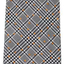 Hermes Black and White Plaid Dot Embroidered Silk Jacquard Tie 211066