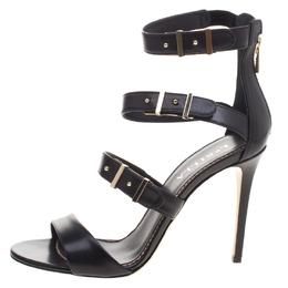 Le Silla Black Leather Minerva Strappy Sandals Size 37.5 98599