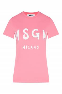 Розовая футболка с логотипом MSGM 296142847