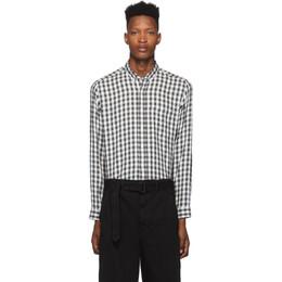 Ami Alexandre Mattiussi Black and White Check Button-Down Shirt 192482M19200104GB