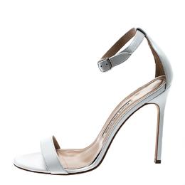 Manolo Blahnik White Leather Chaos Ankle Strap Sandals Size 39.5