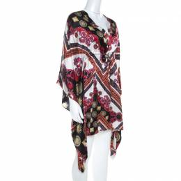 Versace Collection Multicolor Sun and Crystals Motif Printed Silk Kaftan Tunic S 211551