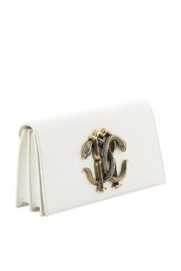 Белый клатч на цепочке Mirror Snake Roberto Cavalli 314143288