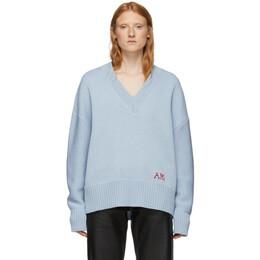 Ami Alexandre Mattiussi Blue Oversized Logo Sweater 192482F10000101GB