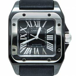 Cartier Black Ceramic Santos 100 Satin Strap Men'S Watch 33X44MM 226961