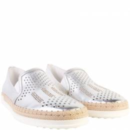 Tod's Silver Metallic Perforated Leather Studded Espadrilles 37 Tod's