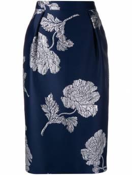 Alexander McQueen - жаккардовая юбка-карандаш с цветочным узором 059QGAAB950393890000