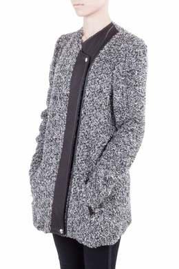 Iro Grey Wool Blend Leather Trim Derby Jacket M 212489