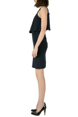 Theory Uniform Blue Silk Ruffled Overlay Landale B Dress XS