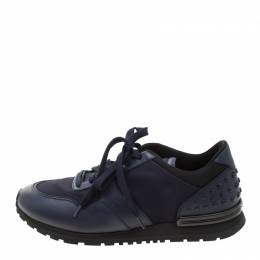 Tod's Blue Leather/Fabric Lace Up Sneakers Size 41 Tod's