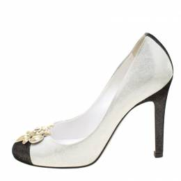 Chanel Grey/Black Textured Suede Runway CC Cap Toe Pumps Size 36.5 212328