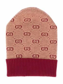Gucci Kids - вязаная шапка бини с узором GG 3065K068953935930000