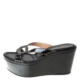 Sergio Rossi Black Patent Leather Wedge Platform Sandals Size 35.5