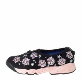 Dior Black Mesh Fusion Floral Embellished Slip On Sneakers Size 37.5 212312