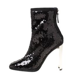 Giuseppe Zanotti Design Black Sequin Ankle Boots Size 39