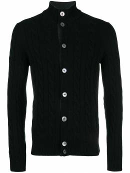 Barba cashmere ribbed mock neck cardigan 1557223538