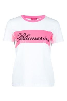Бело-розовая футболка Blumarine 533144194