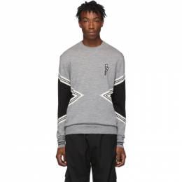 Neil Barrett Grey Modernist Crewneck Sweater 192368M20100301GB