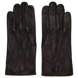 Paul Smith Black Leather Signature Stripe Piping Gloves 192260M13500202GB