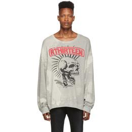 R13 Grey Exploited Punk Oversized Crewneck Sweatshirt 192021M20400102GB