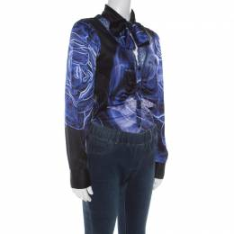 Roberto Cavalli Class Blue Silk Satin Lace Neckline Bodysuit M 212824