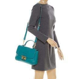 Miu Miu Green Leather Madras Top Handle Bag