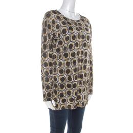 Roberto Cavalli Class Gold and Black Snake Printed Lurex Knit Cardigan M 212845