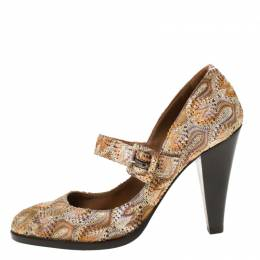 Missoni Multicolor Knit Fabric Mary Jane Pumps Size 38