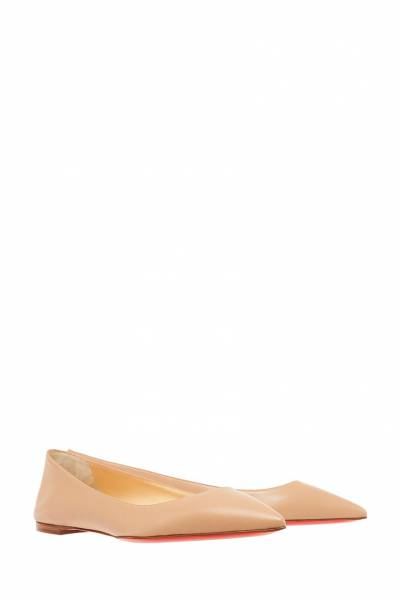 Бежевые балетки из кожи Ballalla Flat Christian Louboutin 10678172 - 3